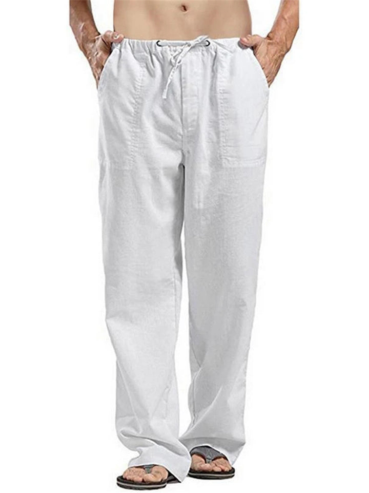 Men's Loose Solid Color Linen Straight Pants