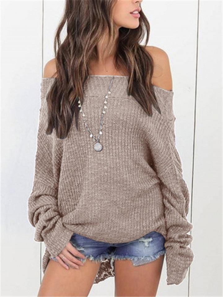 Sexy Off The Shoulder Long Sleeve Solid Color Sweaters