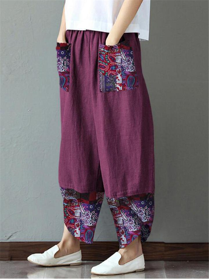 Comfortable Floral Printed Wide Leg Pocket Linen Pants