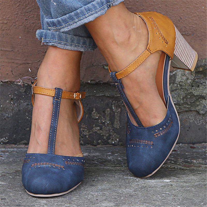 Elegant Retro Buckle Strap Chunky Heel Pumps Sandals
