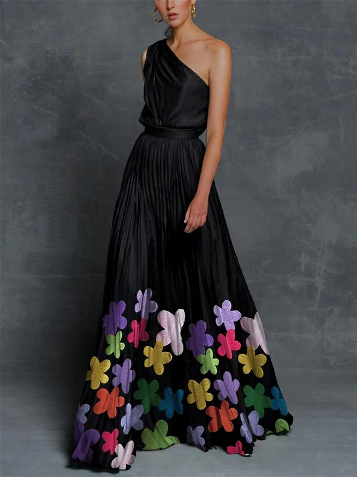 Black With Colorful Floral Embellished Charm One-Shoulder Swing Dress For Party