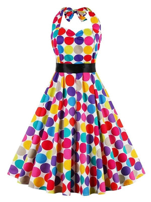 Multicolor 1950S Dot Halter Bow Belted Swing Dress