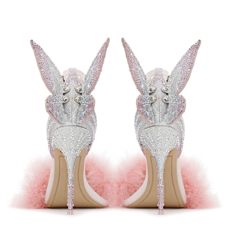 Gorgeous Pastel Crystals Pink Embellished 3D Butterfly Wing Princess Pumps