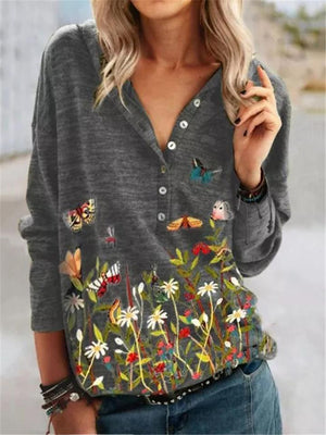 Casual Style Button Up Floral Pattern Long Sleeve Pullover Tops
