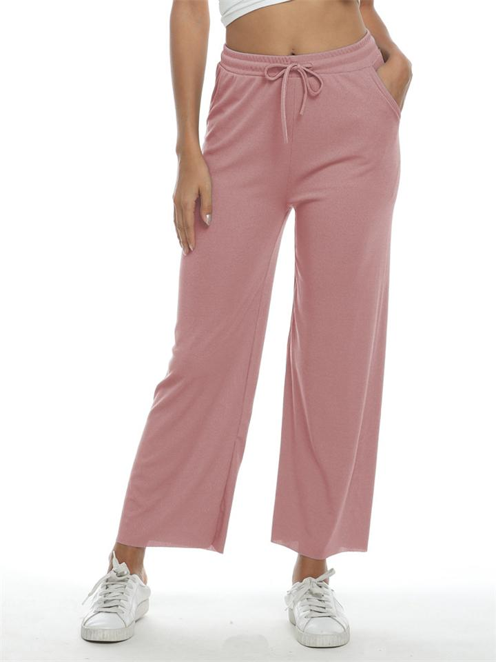 Casual Elastic Waist Drawstring Solid Color Wide Leg Pants