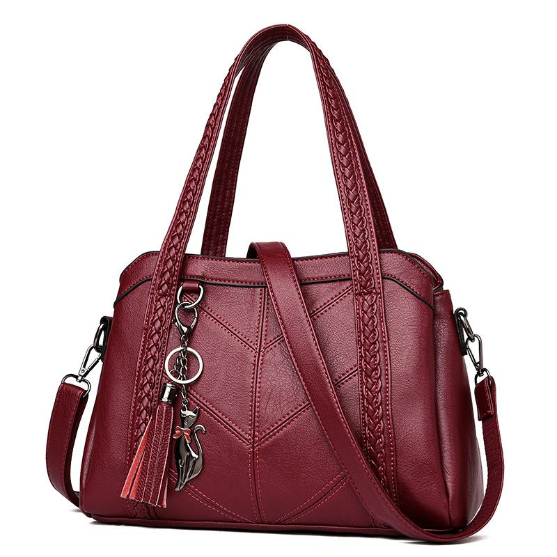 Fashion Elegant Leather Handbag Large Capacity Tassel Ornaments Shoulder Bag