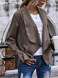 Women Stylish Solid Color Suede Cardigan Outerwear