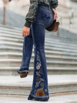 Slim Fit Floral Embroidery Bell Bottom Denim Pants