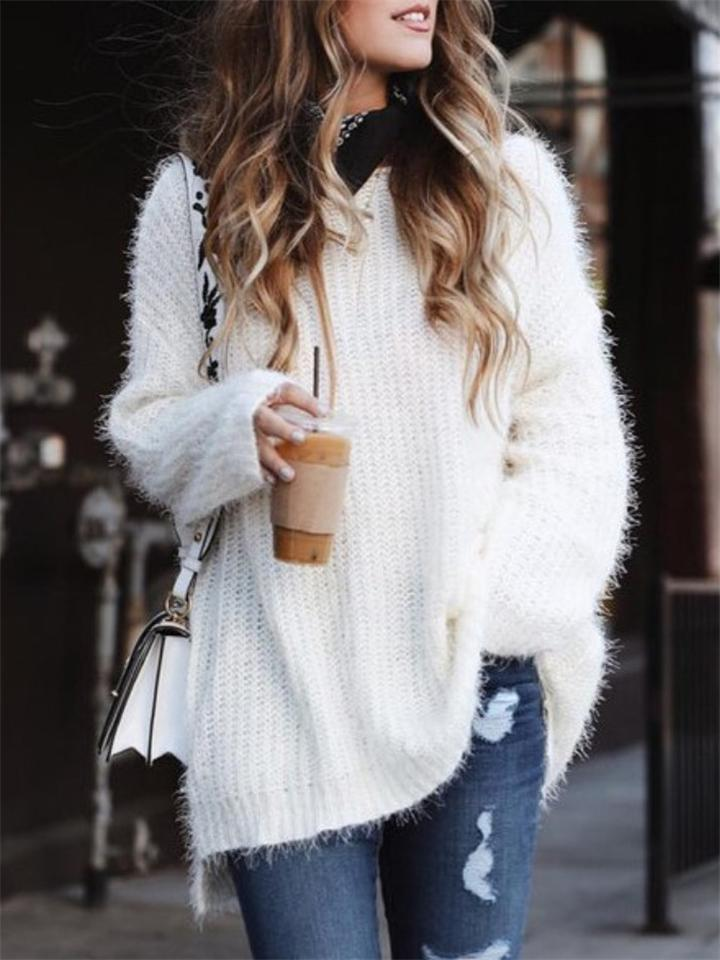 Women Winter Casual Solid Color Knitting Sweater