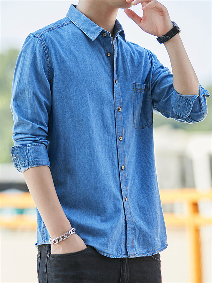 Men's Casual Classic Denim Cotton Long Sleeve Thin Shirts