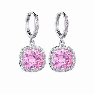 Sparkling Square Shaped Zircon Dangle Hoop Earrings