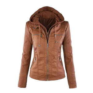 Fashion Zipper Hooded PU Leather Plus Size Jackets