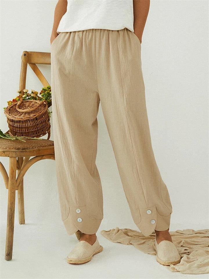 Solid Color Elastic Waist Button Loose Pants With Pocket