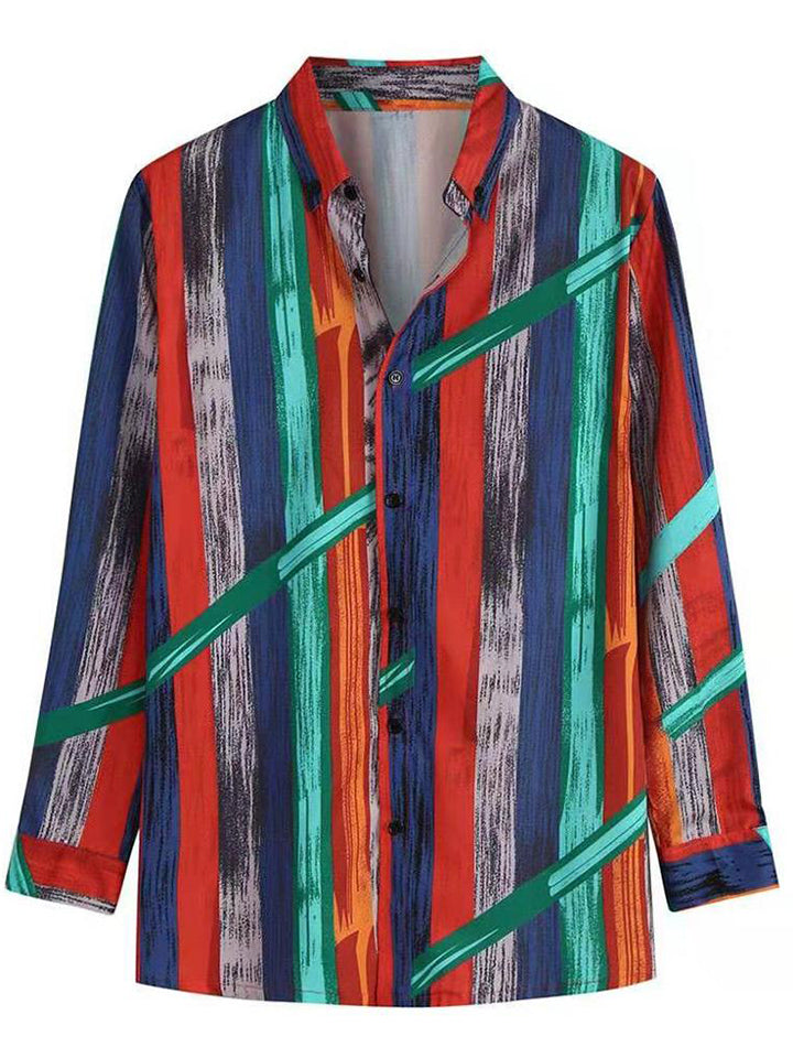 Men's Multi Color Stripes Comfy Turn Down Collar Long Sleeves Shirts