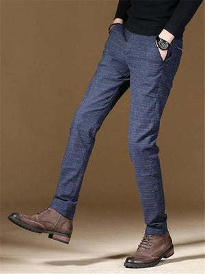 Mens Fashion Plaid Comfort Fit Straight Dress Pants