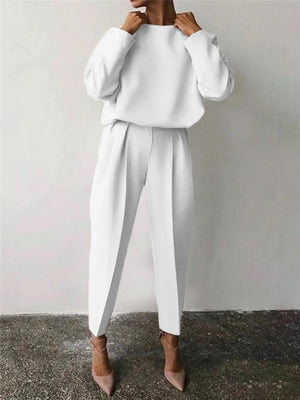 Casual Tracksuit Sets Round Neck Sweatshirt + Elastic Waist Pants
