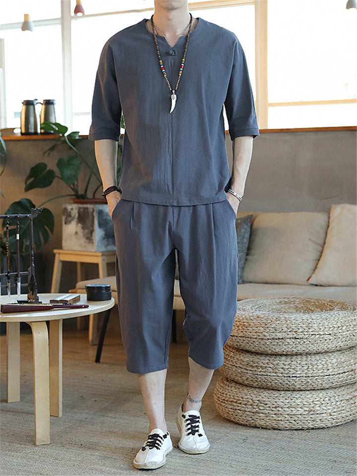 Men's Casual Solid Color Sets Half-Sleeved T-Shirt + Calf Length Drawstring Shorts