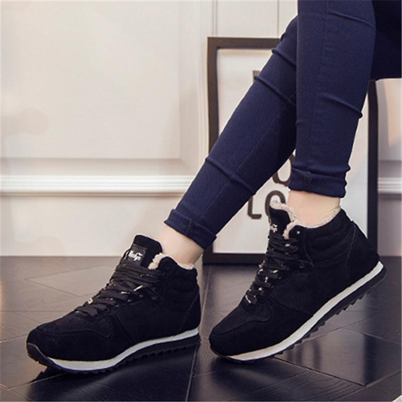 Winter Lace Up Snow Sneakers Warm Fur Lined Shoes