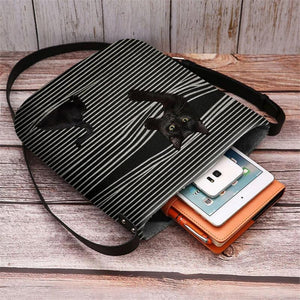 Cute Cat Striped Adjustable Crossbody Bags