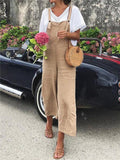 Casual Cotton Linen Loose Solid Color Overall For Women