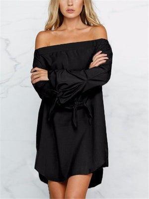 Off Shoulder Long Sleeve Solid Color Asymmetric Hem Midi Dress