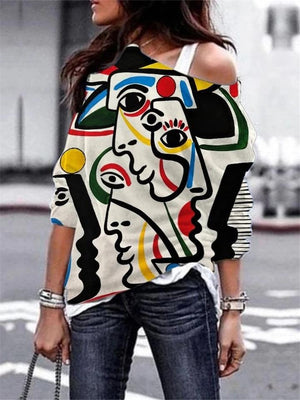 Trendy One Shoulder Abstract Printed Long Sleeve Pullover Tops