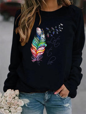 Ultra Cozy Leaf Letters Printed Round Neck Long Sleeve Sweatshirts