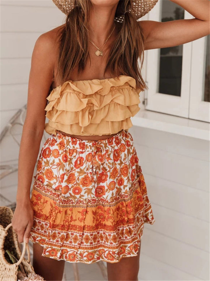 Summer New Arrival Bohemian Floral Beaches Skirts