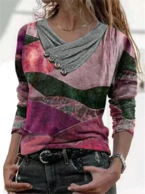 Regular Fit V Neck Multicolor Printed Long Sleeve Pullover Tops