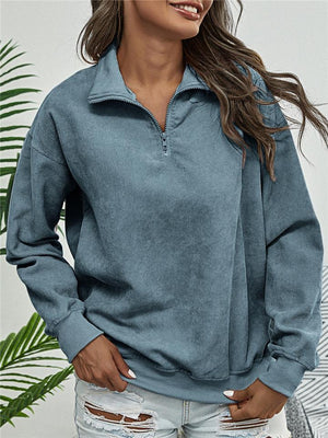 Ultra Cozy Quarter Zipper Corduroy Long Sleeve Sweatshirt