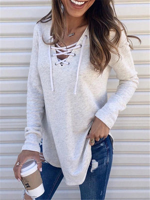 Women's Casual Solid Color Lace-up Neck Long Sleeve Tops