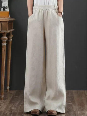Women Cotton Linen Elastic Waist Wide-legged Pants With Pockets