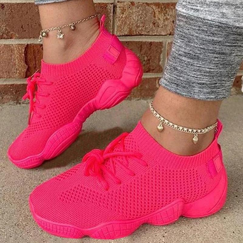 Breathable Solid Color Elastic Cuff Lace-up Comfortable Mesh Sneakers