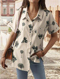Relaxed Fit Lapel Collar Button Up Chest Pocket Short Sleeve Blouse
