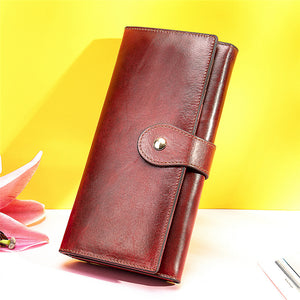 Solid Color Vintage Genuine Leather Wallet For Women