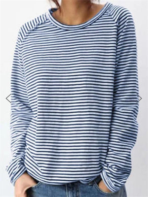 Casual Style Round Neck Striped Long Sleeve Pullover Tops