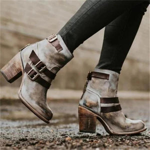 Women Fashion Buckle Chunky Heels Ankle Boots