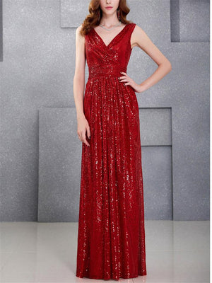 Glamorous V Neck Fitted Waist Sleeveless Maxi Dress for Prom