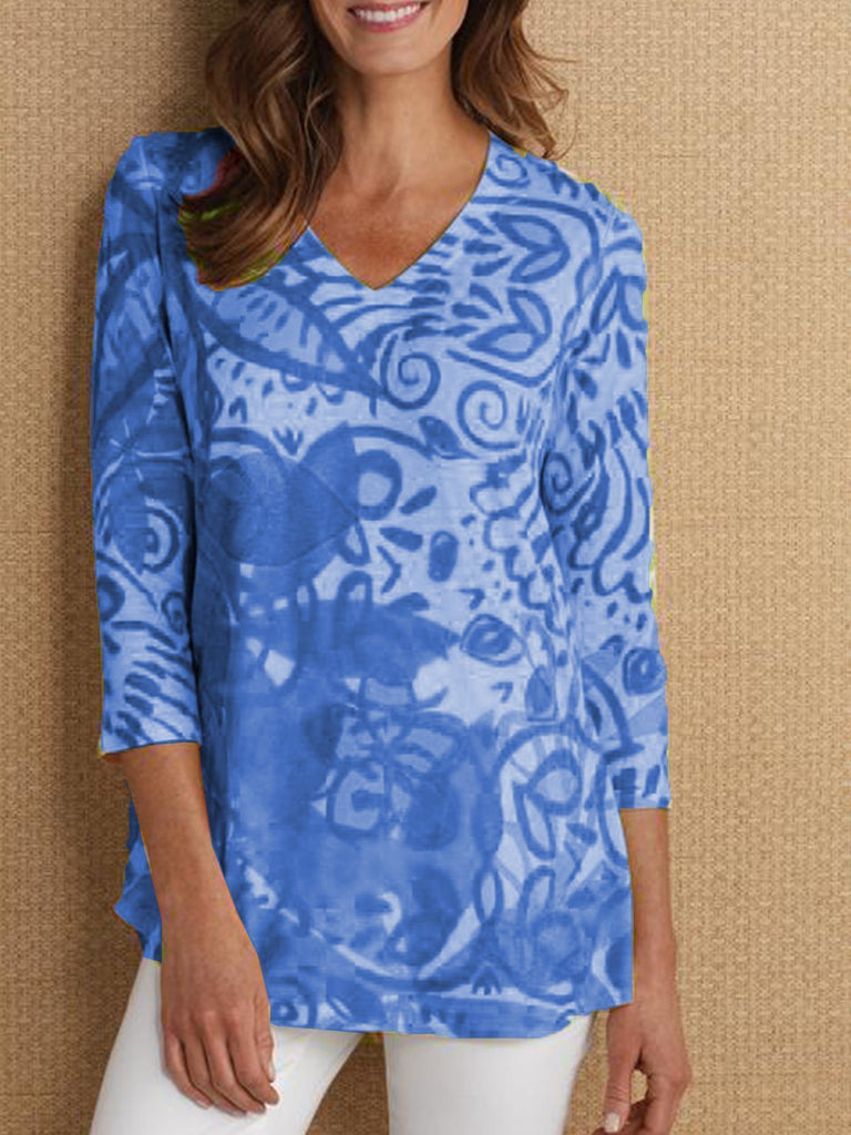 3/4 Sleeve Printed Casual V Neck Shirt