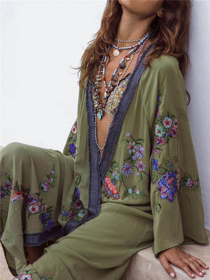 Embroidery Pattern Cardigan Maxi Dress