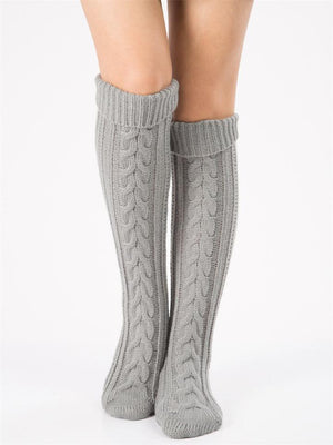 Women Winter Warm Cable Knit Knee-Socks