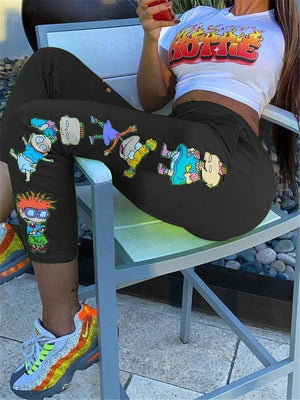 Cartoon Two Piece Cropped T-Shirt + High-Rise Skinny Pants