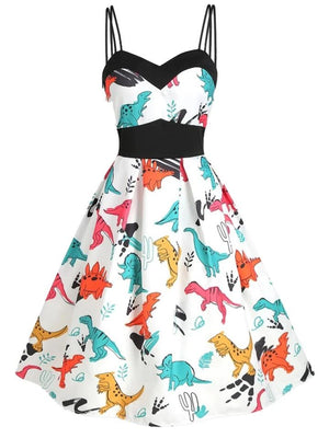 1950S Cute Dinosaurs Strap Dress