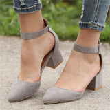 Women Stylish Casual Comfort Suede Pointed Toe Chunky Heel Pumps Sandals