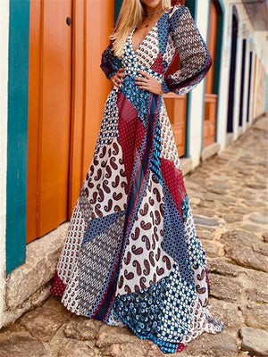 Bohemian Style V Neck Long Sleeve Opening Back Fitted Waist Flare Maxi Dress