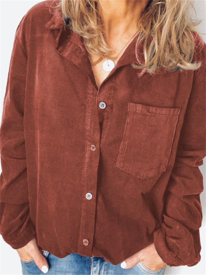 Autumn Women Solid Color Corduroy Casual Blouse