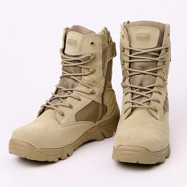 Leather Combat Military Ankle Boots Mens Fashion Army Shoes