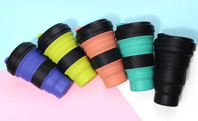 different coloured squishy coffee cups array