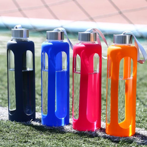 standing stainless steel top glass squishy sports bott