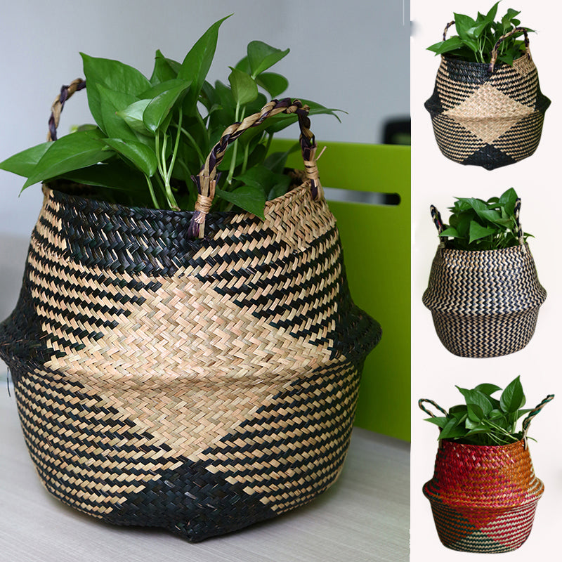 WHISM Folding Seagrass Flower Pots Basket Rattan Plants Pots Laundry Flower Basket Storage Home Room Office Garden Pots